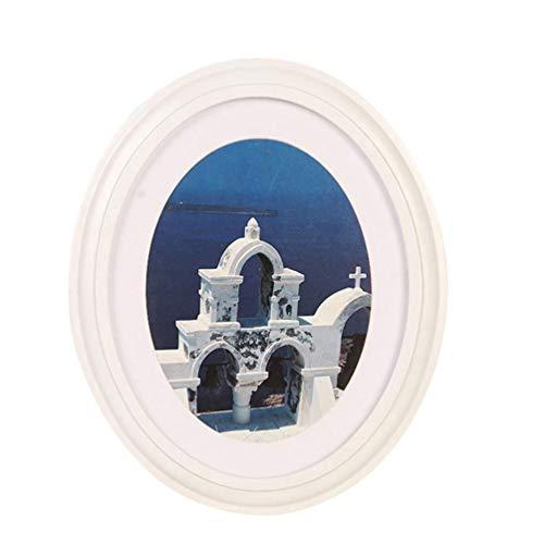 Garneck 10 Zoll Fotorahmen Klassische Holz Ovale Form Bilderrahmen Wandbehang Dekoration für Wohnzimmer Schlafzimmer-Senden Nahtlose Nagel Und S Nagel (Weiß)