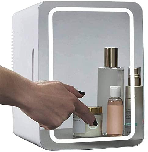 Mini refrigerador de maquillaje, refrigerador cosmético portátil de 8L, panel de vidrio y iluminación LED, refrigerador / congelador más cálido, utilizado para la belleza del cuidado de la piel en el