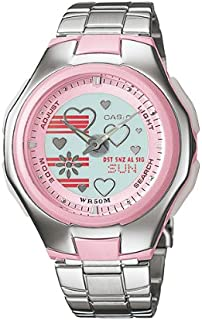 Poptone Watch for Girls by Casio, Analog, Stainless Steel, Silver, LCF-10D-4AV