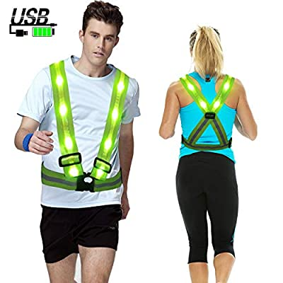 MORLIGHT LED Reflective Vest Adjustable Rechargeable High Visibility Safety Vest Gear for Night Running, Dog Walking, Jogging, Cycling, Motorcycling - Green