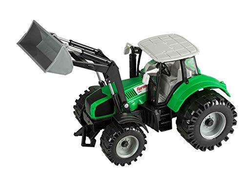 Idena 40290 Tractor met beweegbare voorlader, vliegwielaandrijving, trekhaak en opklapbare motorkap, ca. 29 cm.
