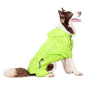 Companet Dog Raincoat Four Feet Adjustable Dog Snow Rain Jacket Dog Rain Poncho with Hood Safe Reflective Stripes for Medium Large Pet