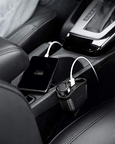 BESTEK 150W 2-Socket Cigarette Lighter Splitter Power Adapter DC Outlet Car Charger Splitter Dual 2.4A USB Car Cigarette Splitter with 26 Inches Cord for Cellphone GPS Dash Cam