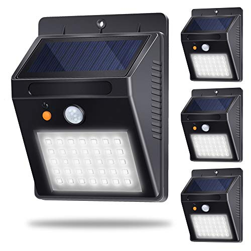 Luz Solar Jardín, Lámpara Solar Exteriors 35LED 500lm 120°Sensor de Movimiento Luces Solares IP65 Impermeable con 3 Modos Inteligentes para Jardín, Patio, Camino, Escalera (4 Pack, Blanco Frio 6000K)