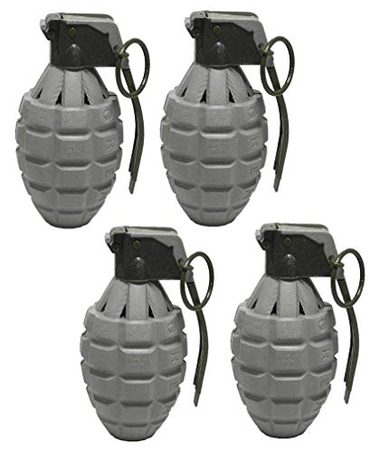 Toy Essentials Gray Pineapple Hand Grenades with Sound Effects - 4 Pack