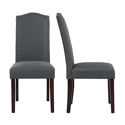 LSSBOUGHT Set of 2 Luxurious Fabric Dining Chairs with Copper Nails and Solid Wood Legs (Teal)