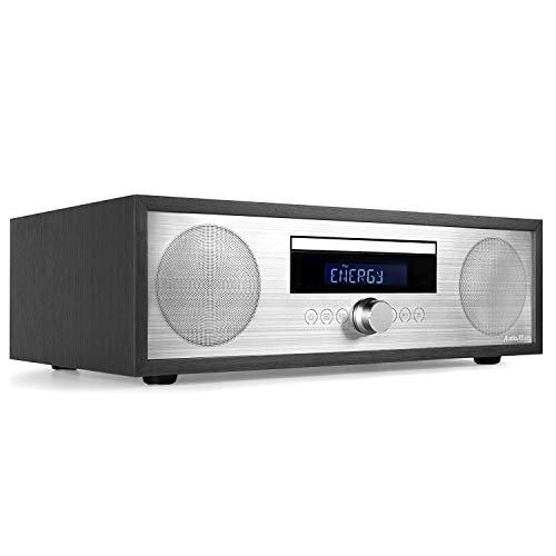 AudioAffairs mcd 2018BK CD Equipo de Micro MP3de Audio Sistema estéreo Compacto con Bluetooth 3.0, Radio PLL FM con RDS, USB & AUX-IN & Mando a Distancia–Versión Mejorada Negro Blanco