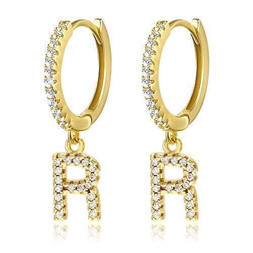 Orecchini Huggie a cerchio con iniziale A-Z per donna Orecchini in oro bianco 14 carati con zirconi personalizzati con 26 lettere Huggie Orecchini regalo per lei