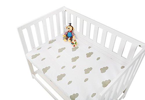 Pinolino 540014-8D Spannbetttücher für Wiegen, Anstellbettchen und Kinderwagen im Doppelpack 'Wölkchen', Jersey, Uni, weiß/grau