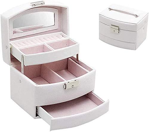 OH Caja de Joyería Caja de Joyería de Cuero Trompeta Semiautomática Bombeo de Madera Joyería de Madera Pendientes de Mano de Acabado de Alenamiento Escaparate Alta capacidad/Blanc