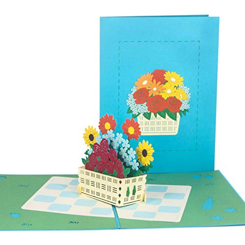 Ribbli Flower Basket Handmade 3D Pop Up Card,Greeting Card,Thank You Card,Flower Card,Spring Card,Summer Card,For Birthday Card,Father Card,Mother Card,Anniversary Card