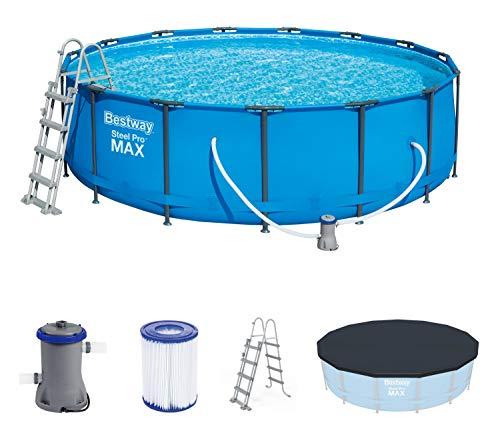 Bestway Steel Pro Max 457x122 cm, stabiler Frame Pool rund im Komplett Set, inklusive Filterpumpe, Sicherheitsleiter und PVC-Abdeckplane