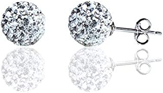 925 Sterling Silver Sparkle Crystal Ball Stud Earrings mothers day gifts for wife mom daughter