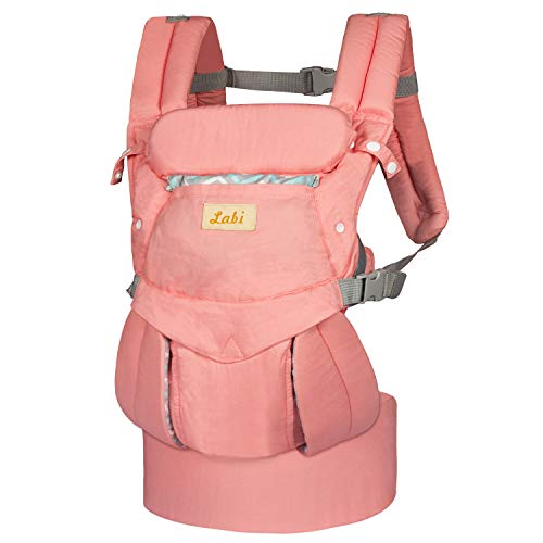 Labi Premium Cotton Baby Carrier with Adjustable Bucket Seat, Ergonomic All Position Baby Backpack with Tuck Away Hood, One of The Most Comfortable Baby Carrier Wrap for Infant & Toddler, Pink
