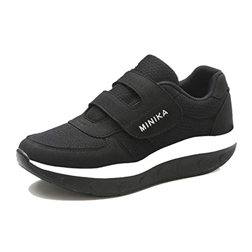 Ladies Creepers Shoes Outdoor Casual Walking Sneakers in Spring Autumn Fashion Hook Loop Wearable Comfort Platform Mesh Shoes Black
