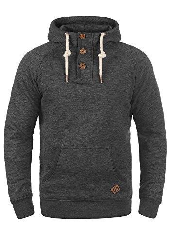 !Solid Vitu Herren Kapuzenpullover Hoodie Pullover Mit Kapuze Und Knopfleiste Aus 100% Baumwolle, Größe:M, Farbe:Med Grey (8254)