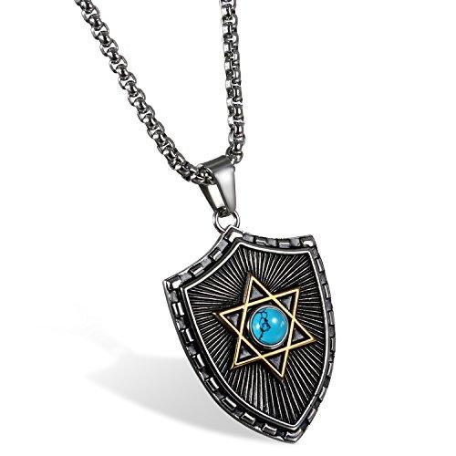 JewelryWe Schmuck Retro Herren Halskette, Edelstahl Schild Glücklich Jüdischen Davidstern Anhänger mit 60cm Kette, Blau Gold Silber