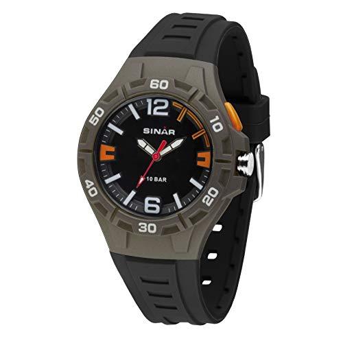SINAR Jugenduhr Sportuhr Outdoor Fitness 10 bar wasserdicht Licht grau orange analog Quarz XB-37-5