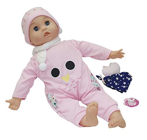 Dimian BD1340D Puppe Bambolina mit magischem Schmusetuch, spricht 50 Wörter, mit Aufnahmefunktion, ca. 42 cm, rosa