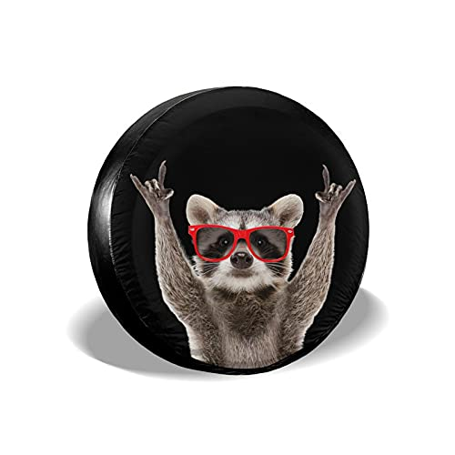 WIDLAN Funny Raccoon Red Sunglasses Spare Tire Cover Compass Wheel Protectors Weatherproof for Camper Trailer RV SUV Sunscreen Dustproof Wheel Covers 15 Inch