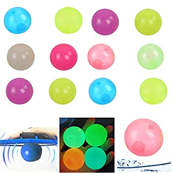 PoSeitiks 12PCS Sticky Balls Luminescent Sticky Balls Toys for Kids Stick to Wall Sticky Balls for Ceiling Glow in the Dark Slowly Fall Off Perfect Fun Toys for Kids and Adults