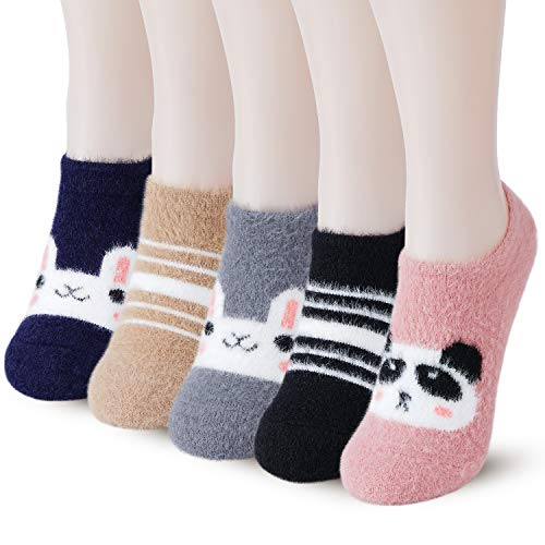 Slipper Socks for Women Anti-Slip 5 pairs Super Soft Warm Cozy with Cute Animal Low Cut Winter Fluffy Fuzzy Socks