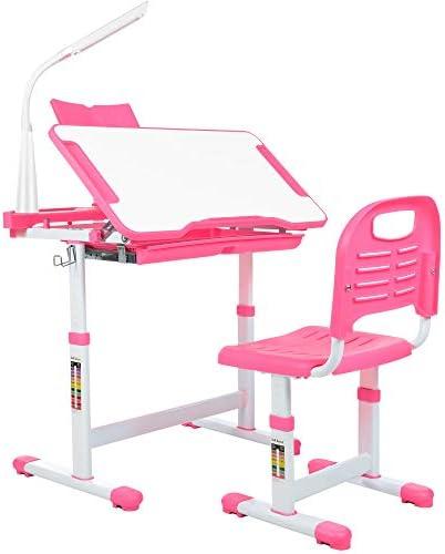 newppon Kid Desk Chair Set Student Height Adjustable Study Desk Ergonomic Children Writing Desk product image
