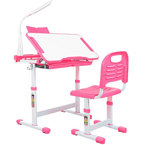 newppon Kid Desk & Chair Set : Student Height Adjustable Study Desk Ergonomic Children Writing Desk with Tilt Desktop Pull-Out Drawer Bookstand for Child Teens Homeschool -Pink