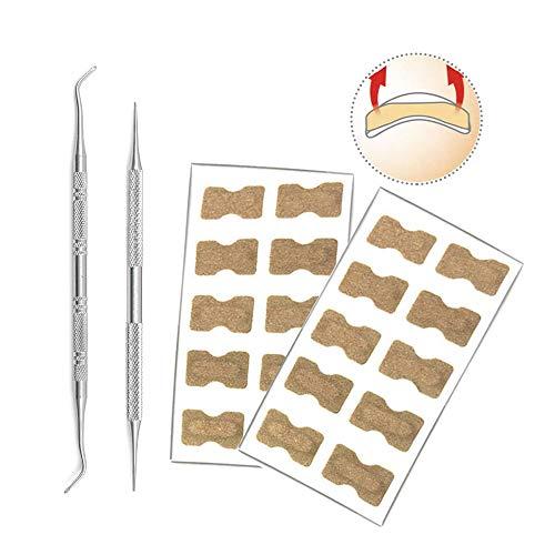 Kalolary 20 Stücke Eingewachsene Zehennagel Korrektur Patch Atmungsaktive Daumen Gebogen Zehennagel Klammer Pediküre Werkzeug + 2 Stück Maniküre-Tool