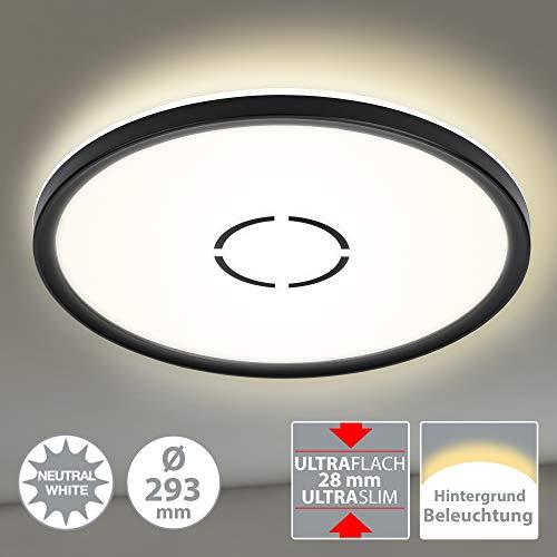 Briloner Leuchten LED Deckenleuchte, Deckenlampe mit Hintergrundbeleuchtungseffekt, 18 W, 2.400 Lumen, 4.000 Kelvin, Rund, Weiß-Schwarz, Ø 29,3cm