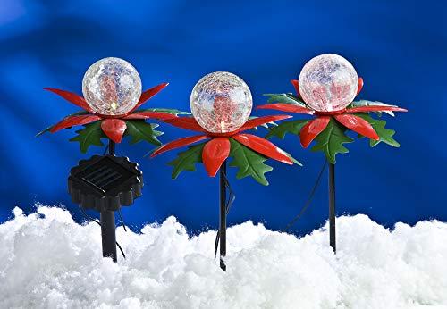 BURI 3er-Set LED Weihnachtsterne mit Farbwechsler Solarleuchte Weihnachtsbeleuchtung