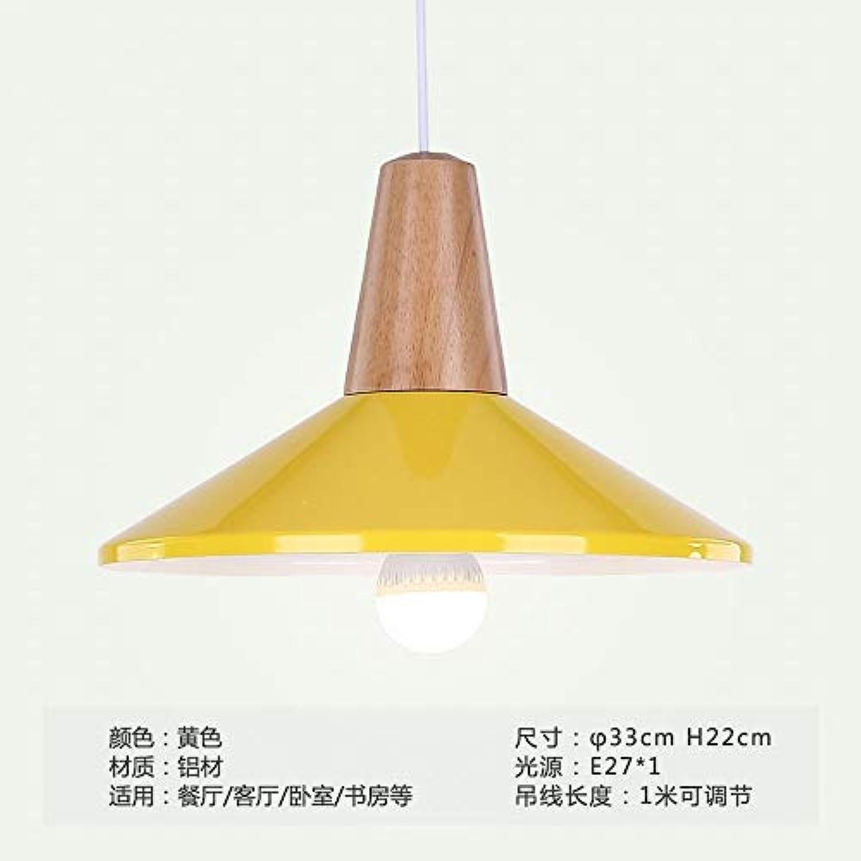 Xiaoxiao666 Moderne Minimalistische Macaron Massivholz Esszimmer Leuchter Beleuchtung, B Gelb