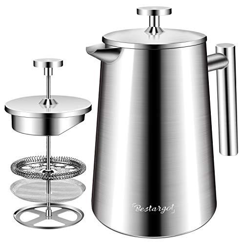 Bestargot® French Press Kaffeebereiter aus Edelstahl, 1L(5 Tassen) Coffee Maker, Doppelwandige Kaffeekanne mit Edelstahlfilter, SSFPCM01