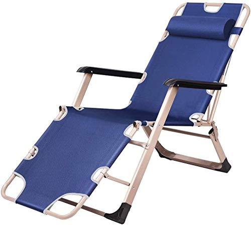 BDQZ Tumbonas Plegables Tumbonas para Tomar el Sol sillas No Peso Almohada Ajustable con portavasos para la Cubierta de la Piscina al Aire Libre de la Playa Corte MAX.150kg Plegable - Azul