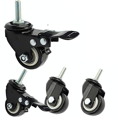 JXJ 4 Ruedas para Muebles con Rosca de Freno M8 Ruedas giratorias pequeñas 40 mm / 50 mm Ruedas de vástago de Doble rodamiento silenciosas de PU para Transporte Industrial 300 kg Cuna Trolley CU