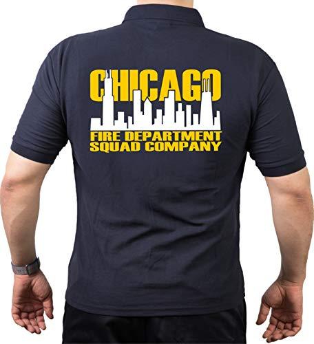 feuer1 Polo Bleu Marine, Chicago Fire Dept. Squad Bicolore Skyline (Blanc/Jaune) 3XL Bleu Marine