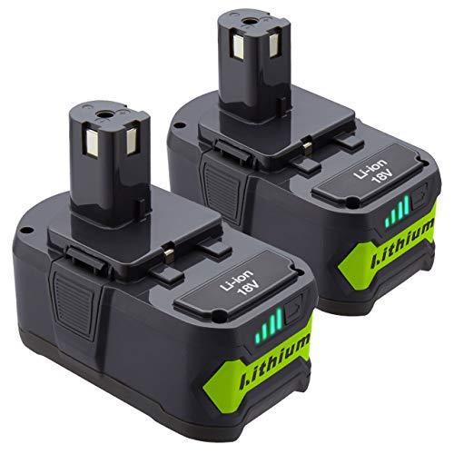 Dutyone 2Pack 5000mAh Replacement Battery for Ryobi 18V Lithium Ion Battery P102 P103 P104 P105 P107 P108 P109 Ryobi 18 Volt ONE+ Cordless Tool