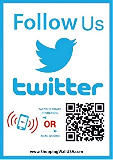 Follow Us on Twitter Sticker - Social Media QR Code and NFC Tag - Storefront Window Decal - Two-Sided Window Sticker - Custom-Designed for Twitter