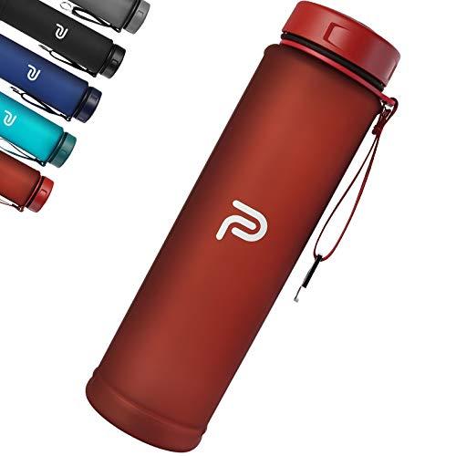 PLAUSO Trinkflasche 1l - auslaufsichere Trinkflasche - BPA frei - Zeitmarkierung - Kohlensäure geeignet |Tritan 1000ml Wasserflasche für Sport, Fitness, Büro (Vermilion Red)