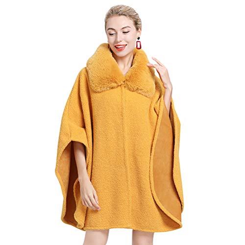 vannawong Capa de piel para mujer, capa de gran tamaño, para clima frío, parte frontal, chaqueta suave al aire libre, poncho con mangas amarillo mostaza Tallaúnica