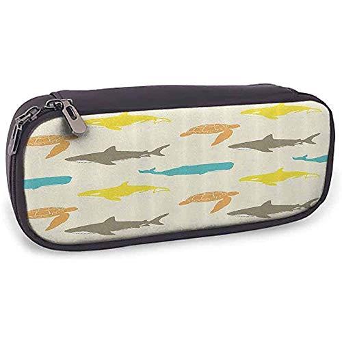 Bleistiftetui Meerestiere Dekor Muster mit Walhai und Schildkröte Aquarium dekorative Doodle Style