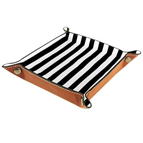 Modernes schwarz-weiß gestreiftes geometrisches Tablett aus PU-Leder für Herren und Damen, Schmuck-Schlüsselablage, Schreibtisch-Ablage für Schlüssel, Münzen, Handy, Schmuck, Geldbörse