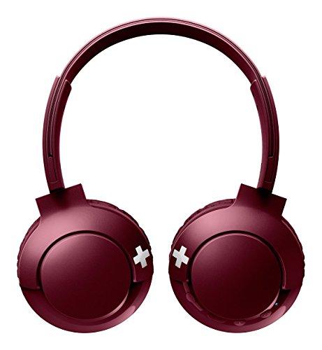 Philips SHB3075RD - Auriculares Inalambricos (Bluetooth, con micrófono, aislantes de ruido, plegables, 12 h de reproducción) rojo