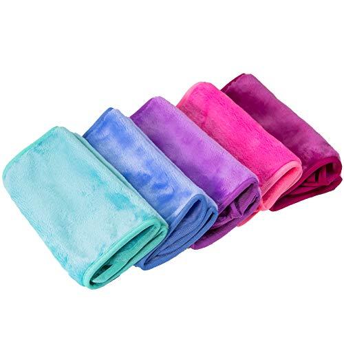 Paño removedor de maquillaje Nugilla, 5 unidades, toalla de limpieza de microfibra reutilizable, apto para todo tipo de piel