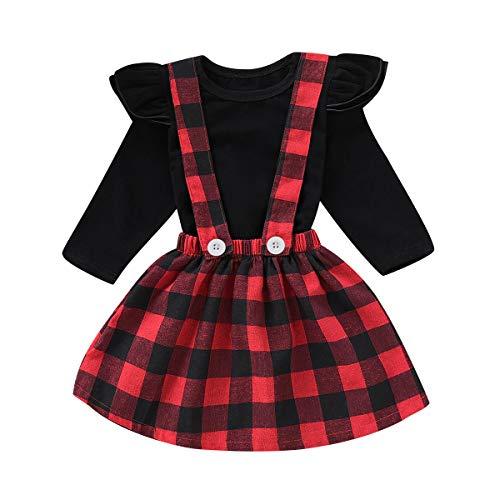 Tabpole 2 piezas de camiseta de manga larga para niños pequeños y niñas de cuadros rojos