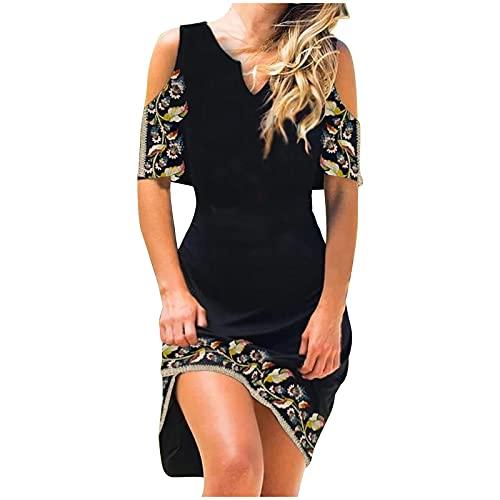 Zzbeans Boho Kleid Damen A Linien Kleid Damen Sommer Kurzarm Schulterfrei Blumendruck Kleid Sexy V-Ausschnitt Strandkleid Damen Summer für Urlaub Am Meer