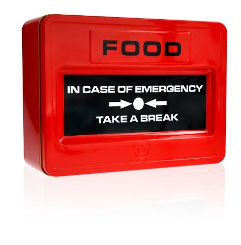 MUSTARD - Emergency Take A Break Lunch Box I Brotdose I Keksdose I Luftverschlossen I Einfach zu Reinigen I Pausenbrot-Dose I lustige Geschenkidee I Blechdose I Notfall-Knopf für die Pause - Rot