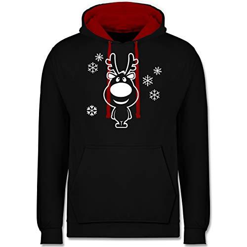 Weihnachten & Silvester - Rentier Schneeflocken - 3XL - Schwarz/Rot - Coole pullis Herren - JH003 - Hoodie zweifarbig und Kapuzenpullover für Herren und Damen