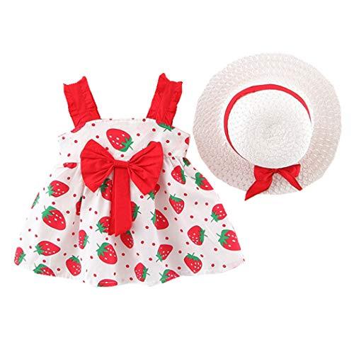 Allskid Bebé niñas Vestidos 0-3 años de Edad Chicas Verano Sin Mangas Fresa Patrón Bowknot Rojo Vestir Girls Dress con Sombrero para el Sol (90CM/1-2 Years, Rojo)
