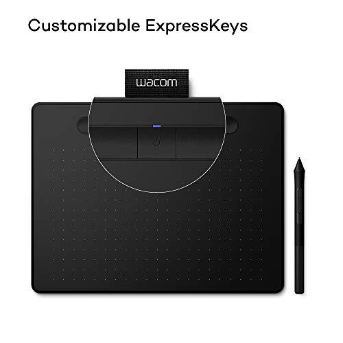 Wacom Intuos M - Tableta Gráfica Bluetooth, Tableta Gráfica Inalámbrica para pintar, dibujar y editar photos con 3 softwares creativos incluydos para descargar, compatible con Windows & Mac,  Negra